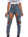 Viladress Denim Shorts Broken Holes Women Jeans
