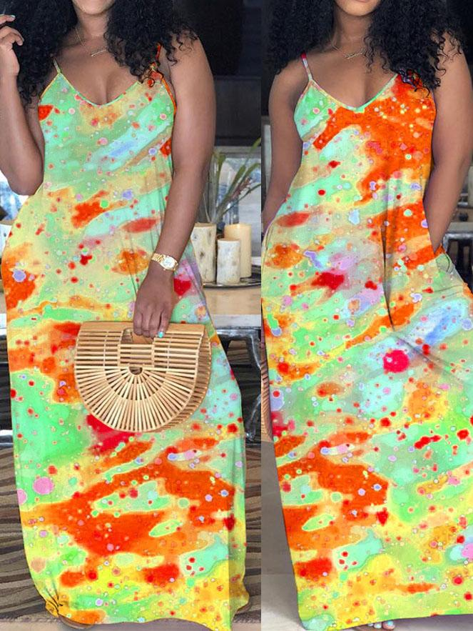 Viladress  Multicolors Printing Bandhnu Printing Maxi Dress