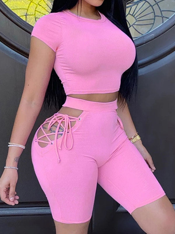 Viladress  Women Crop Tops and Shorts Bandage Shorts Two Pieces Shorts Set