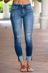 Viladress Distressed Skinny Fit Raw Hem Jeans