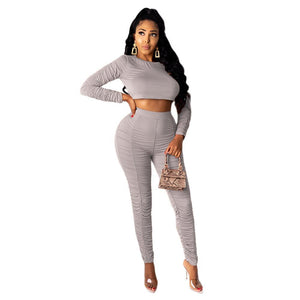 Viladress 2020 Autumn Women Crop Tops and Skinny Pants Two Pieces Outfits