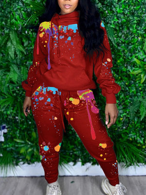 Viladress Printing Outfits Two Pieces Women Sweatsuit Two Pieces Outfits