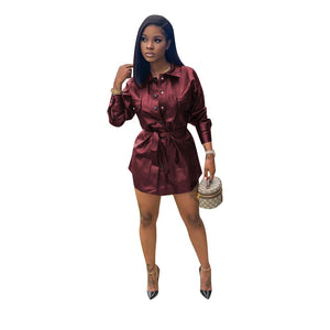Viladress 2020 Winter Women PU Shirt Dress Mini Dress PU Dress