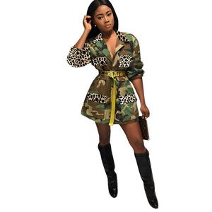 Viladress Wome Coat Camo Prinitng Outerwear(without belt)