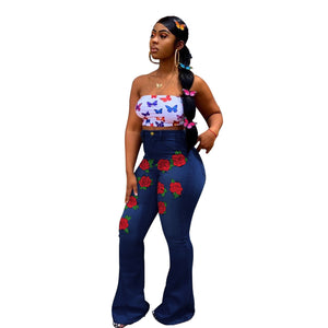 Viladress Women Jeans Flowers Decorated Women Jeans High Waist Women Jeans