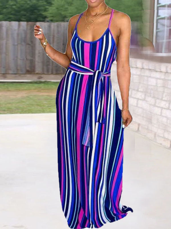 Viladress Multicolors Stripes Women Dress Maxi Dress Multicolor Striped Maxi Dress