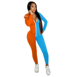 Viladress Women Patchwork Jumpsuit Sweat Jumpsuit