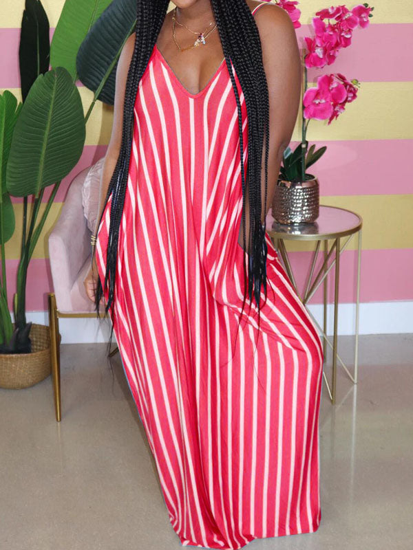 Viladress  Striped Maxi Dress Women Maxi Dress V-neck Stripes Dress