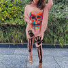 Viladress Women High Neck T-shirts and Sweat Pants Two Pieces outfits Skull Printing Women Outfits
