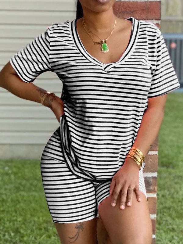Viladress 2020 Striped Casual Outfits At-home T-shirts ans shorts