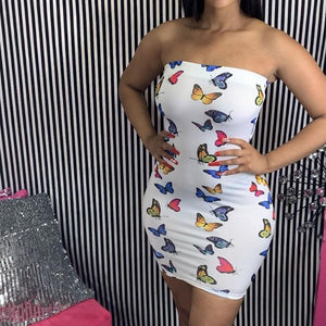 Viladress  Women Dress Mini Dress Off the Shoulder butterfly Printing Women Dress