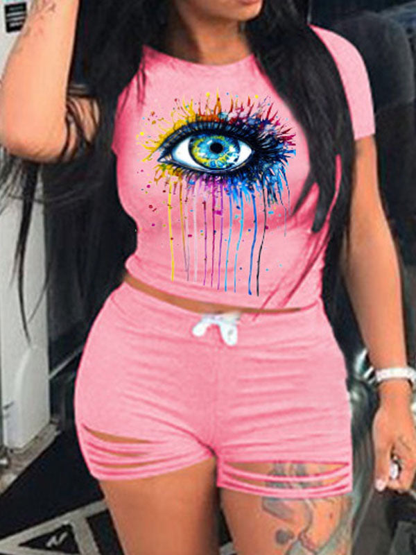 Viladress Smart Eyes Printing Women T-shirt and Shorts Two Pieces Outfits