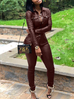 Solid PU Two Piece Leather Sets