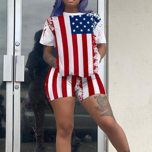 Viladress USA Printing Amercia Printing women T-shirts and Shorts National Flag Printing Women Shorts Set