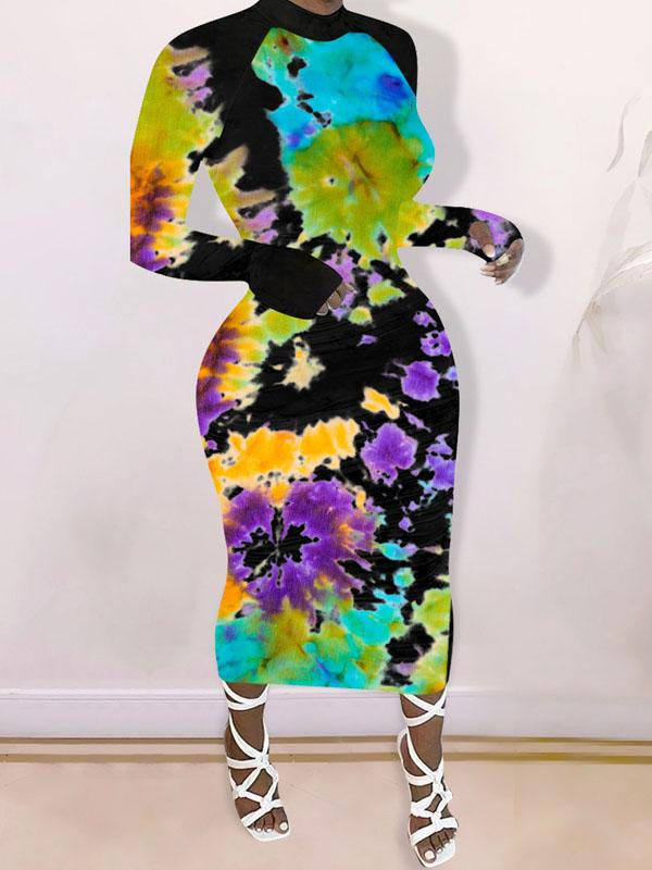 Viladress  Colors Printing Women Dress Midi Dress Long Sleeves Autumn Dress