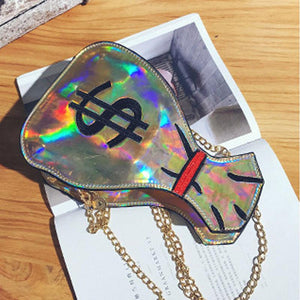 Viladress   Women Handbag Dollars Pirnting Laser Bag Handbag Women Purse