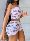 Viladress  Butterfly Printing Crop Tops and shorts Two Pieces Shorts Set Outfit