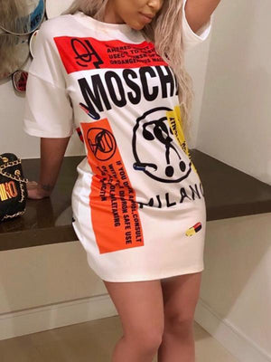 Casual Print T-shirt Mini Dress