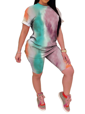 Viladress Tie-dye Women T-shirt and Shorts Set