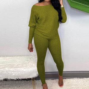 Viladress Slash Neckline Long sleeves Women T-shirt and Skinny Pants Two Pieces At-home Outfits