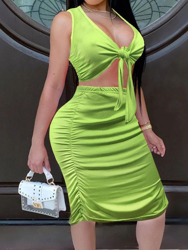 Viladress  Chest Wrap and Mini Skirt Two Pieces Green Dress Midi Dress