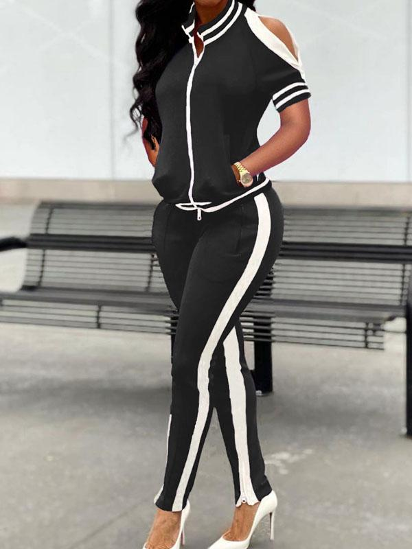 Viladress  Cold Shoulder Sweatsuit Two Pieces Outfit Women Outfit US Outfit
