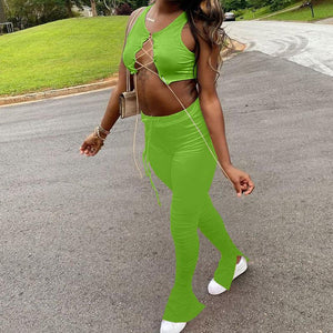 Viladress  2020 Summer Outift Crop tops Bandage Tops and Split Pants Two Pieces Outfit
