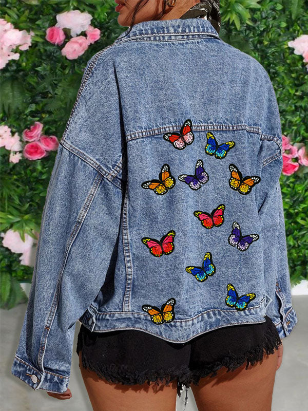 Viladress Women denim Jacket Butterfly Emboided Butterfly Printing Women Jacket