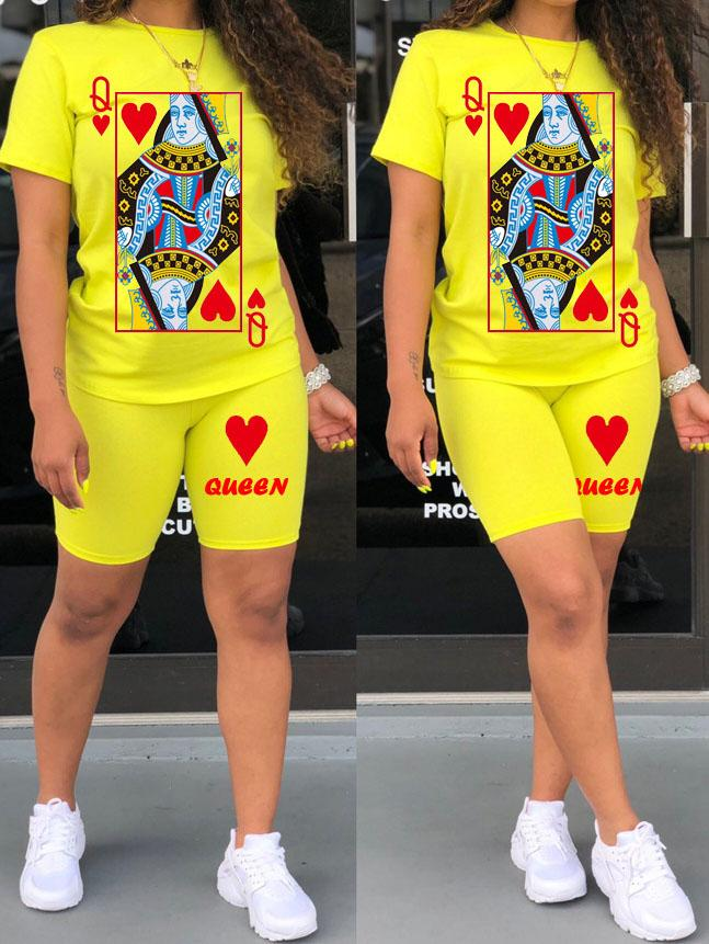 Viladress Playing Card Printing Women T-shirt and Shorts Two Pieces Outfit