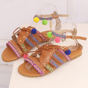 Viladress Fuzzy Ball and Butterfly Flat Sandals