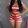 Viladress  Striped Hoodie and shorts Women Outfits Women Shorts set
