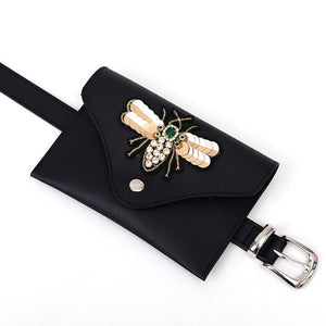 Viladress Cute Honeybee Decorated Women Waist Bag PU Belt