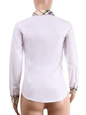Patchwork Women Long Sleeves Shirt(Doesn't Stretch)