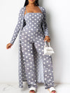 Viladress women Spots Printing Women Jumpsuit and cardigan Cover-up Jumpsuit Set