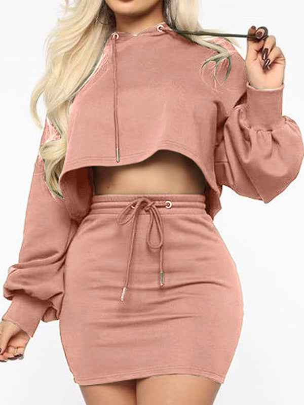 Viladress 2020 Autumn Outfits Skirts Set Women Short Hoodie and Mini Skirt Two Pieces Dress