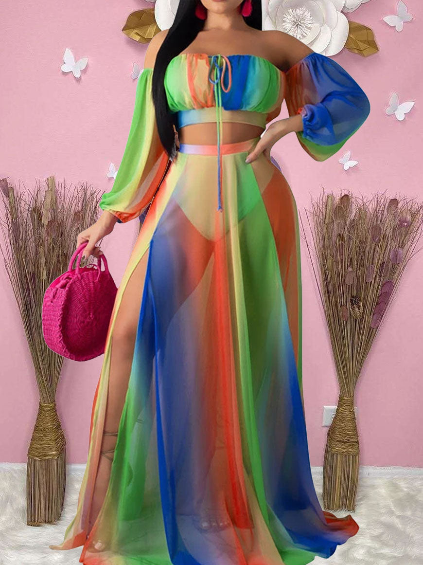 Viladress Multicolor Chest Wrap and Sleeves and Skirt Three Pieces Dress