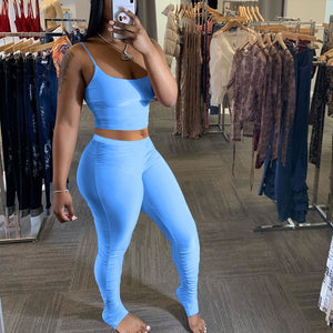 Viladress 2020 Best Selling Women Vest Crop Tops and Sweat Pants Outfits