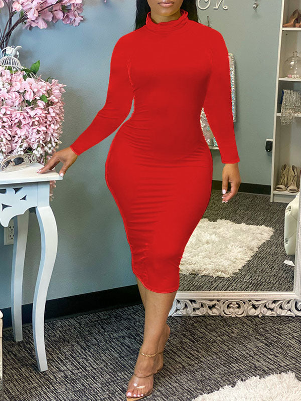 Viladress 2020 Women Midi dress Long Sleeves High Neckline women Dress