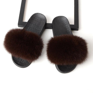 Viladress Artificial Fox Fur Decorated Women Slippers