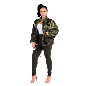 Viladress Women Camo Coat Camo Printing Jacket Sequins Decorated Women Jacket