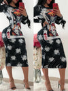 Vintage Print Sheath Midi Dress