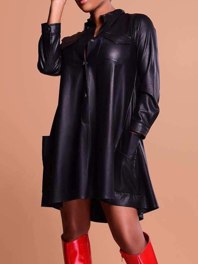 Solid PU Knee Length Shirt Dress