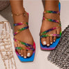 Vialdress 2020 Colors Printing Women Sandals Flat Sandals