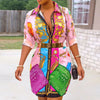 Vialdress 2020 Autumn Women Shirt Multicolors Printing Women Shirt Dress