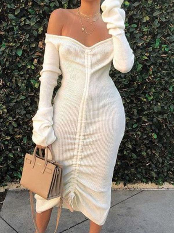 Viladress 2020 Autumn Dress Women Dress Midi dress Long Sleeves Bandage Dress