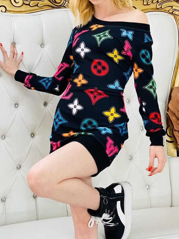 Viladress Multicolor Printing Women MIni Dress Women T-shirt