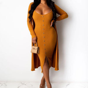 Viladress  2020 Womn Dress Mini Dress with Cover Up With Cardigan Two Pieces Dress