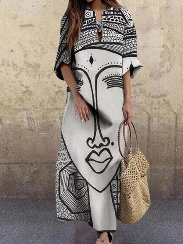 Viladress Womeon Dress Stylish Printing women Dress Maxi Dress