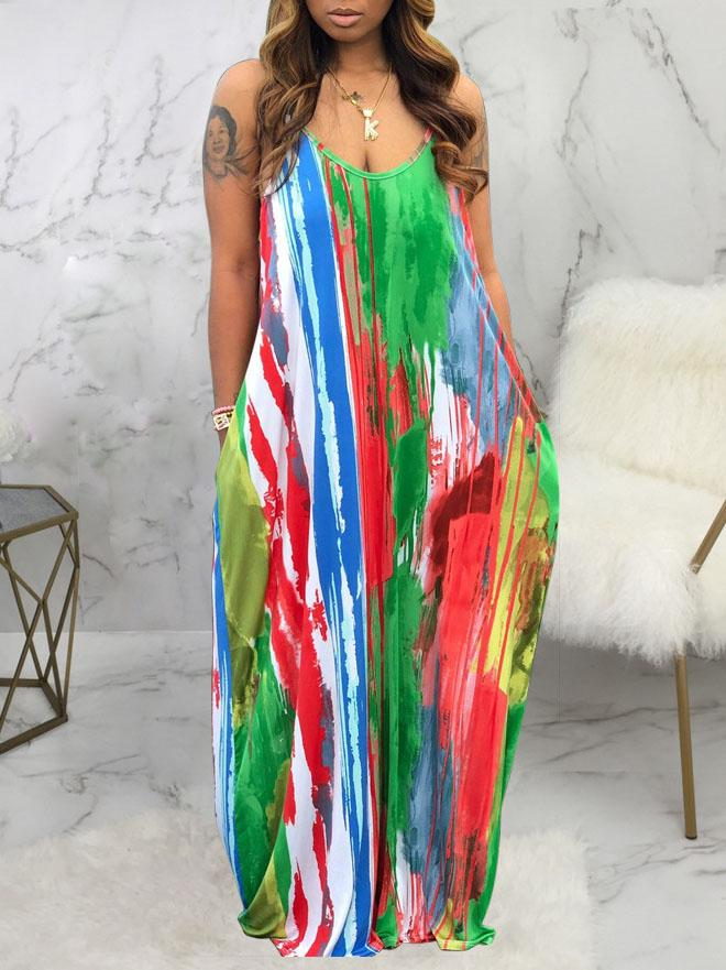 Viladress  Multicolors Printing Women Dress Maxi Dress