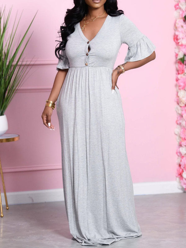 Viladress V-neck women Dress Maxi Dress At-home Dress